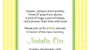 Baby Shower Invitation Wording for Early Arrival Two Peas In A Pod Baby Shower Invitations