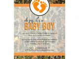"""Baby Shower Invitations Camouflage Hunting orange Camo Baby Boy Shower Invitation 5"""" X 7"""