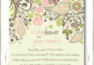 Baby Shower Invitations Garden theme Paisley Garden Baby Shower Invitation for Baby Girl