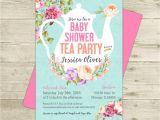 Baby Shower Invitations Tea Party theme Tea Party Baby Shower Invitation Floral Shabby Girl Baby