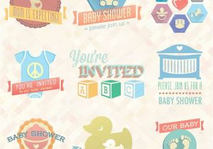 Baby Shower Invitations Vector Vector Set Baby Shower Invitation Labels and Icons