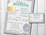 Baby Shower Invitations with Diaper Raffle Wording Couples Baby Shower Invitation and Diaper Raffle Ticket