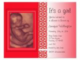 Baby Shower Invitations with sonogram Picture Baby Shower Invitation Red Ultrasound