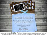 Baby Shower Invitations with sonogram Picture Boy Baby Shower Invite Blue Brown Shower Invite Polka