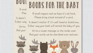 Baby Shower Invite Book Instead Of Card Woodland Baby Shower Bring A Book Instead Of A Card Invitation