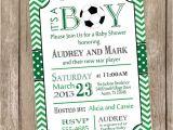 Baby Shower soccer Invitations Chevron soccer Baby Shower Invitation soccer Green