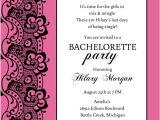 Bachelorette Party Invite Wording Black Lace and Pink Bachelorette Party Invitation