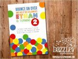 Ball themed Birthday Party Invitations Printable Bouncy Ball Birthday Invitation Ball Pit