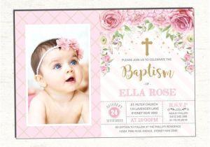 Baptism and Birthday Invitation Sample Girl Baptism Invitation Pink Gold Christening Printable