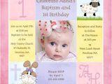Baptism and First Birthday Invitation Wording 1st Birthday and Christening Baptism Invitation Sample
