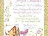 Baptism and First Birthday Invitation Wording Chic butterfly Baptism and 1st Birthday Invitations