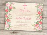 Baptism Invitations Canada Baptism Invitations Floral Cross Pink Girl Simple Modern
