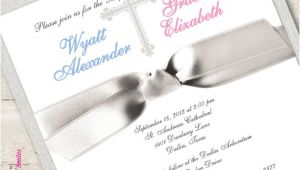 Baptism Invitations for Boy and Girl Twin First Munion Invitation Twin Boy and Girl