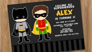 Batman and Robin Birthday Invitations Batman and Robin Inspired Super Hero Birthday Party Invitation