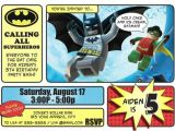 Batman and Robin Birthday Invitations Batman Invitations Lego Batman and Robin Invitation
