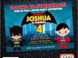 Batman Vs Superman Birthday Party Invitations Batman Vs Superman Birthday Invitation Card Superhero