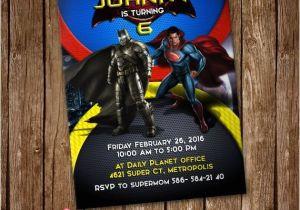 Batman Vs Superman Party Invitations Batman Vs Superman Invitation Card Party Invite by Lunalumuc