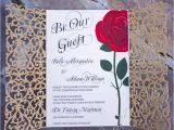 Beauty and the Beast Inspired Wedding Invitations Red Rose Wedding Invitation Inspired by the Beauty and the