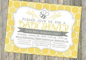 Bee Baby Shower Invites Bee Baby Shower Invitation Bee and Honey B Typography