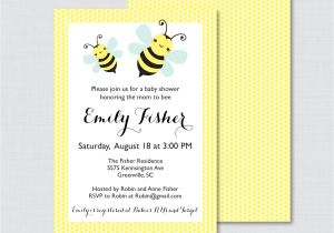 Bee Baby Shower Invites Bumble Bee Baby Shower Invitation Printable or Printed