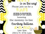 Bee Baby Shower Invites Bumble Bee Baby Shower Invitations Digital or Printable File