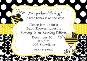 Bee themed Baby Shower Invites Bumble Bee Baby Shower Ideas