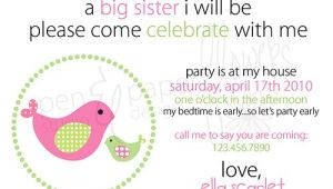 Big Sister Baby Shower Invitations Pen Paper Flowers My Shoppe Big Sister Invites