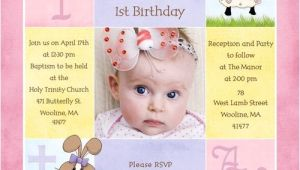 Birthday and Baptismal Invitation Wordings 1st Birthday and Christening Baptism Invitation Sample