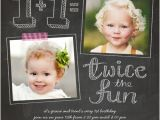 Birthday Invitation Cards for 1 Year Old Twins Twice as Fun Twin Birthday Invitation Baby Related