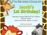 Birthday Invitation Template Jungle theme 1st Birthday Jungle Invitation