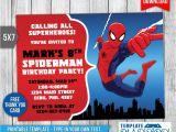 Birthday Invitation Template Spiderman Spiderman Invitation Birthday Invitation Psd by
