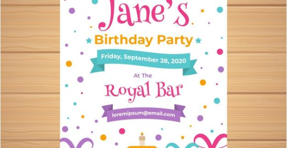 Birthday Invitation Templates Vector Free Download Birthday Invitation Template In Flat Style Vector Free