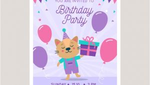 Birthday Invitation Vector Template Children 39 S Birthday Invitation Template Vector Free Download