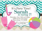 Birthday Invitation with Dress Code Pool Party Invitation Teal Chevron and Tan Argyle Beach