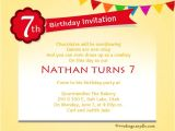 Birthday Invitation Wording for 7 Year Old Boy 7th Birthday Party Invitation Wording Wordings and Messages