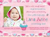 Birthday Invitation Wordings for 1 Year Old Sweet Cupcake Birthday Invitation Cute Polka Dots 1 Year