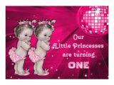 Birthday Invitations for Twins First Birthday Princess Twins Pink Disco Ball 1st Birthday 5×7 Paper
