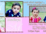 Birthday Invitations for Twins First Birthday Twins First Birthday Invitations Template