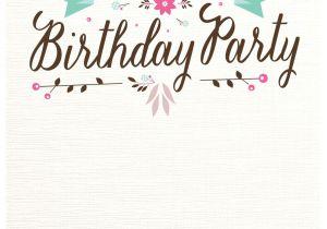 Birthday Invite Template Flat Floral Free Printable Birthday Invitation Template