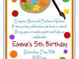 Birthday Party Invitation Template Art Free Art Invitations Art Party Painting Birthday Party Paint