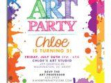 Birthday Party Invitation Template Art Free Art themed Birthday Party Invitations Free Invitation