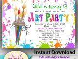Birthday Party Invitation Template Art Free Editable Art Party Instant Download Invitation