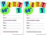 Birthday Party Invitation Template Printable 20 Ideas 60th Birthday Party Invitations Card Templates