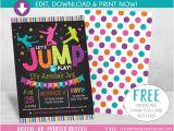 Birthday Party Invitation Template Trampoline Jump Birthday Invitation Trampoline Party Invite Bounce