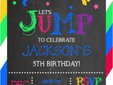 Birthday Party Invitation Template Trampoline Jump Bounce House Trampoline Park Party Birthday