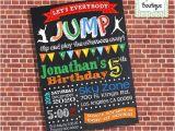 Birthday Party Invitation Template Trampoline Trampoline Birthday Party Invitation Jump Invite Chalkboard