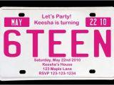 Birthday Party Invitations for 16 Year Old Boy Sweet 16 License Plate Birthday Invitation Magenta