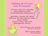 Birthday Party Invite Wording Princess theme Birthday Party Invitation Custom Wording