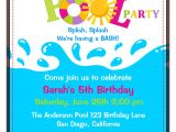 Birthday Pool Party Invitation Wording Birthday Pool Party Invitations