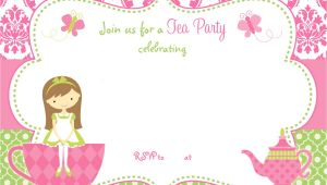 Birthday Tea Party Invitations Free Free Printable Tea Party Invitation Template for Girl
